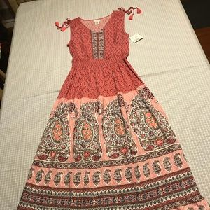 New Liz Claiborne Pink/Rose Flower Maxi Dress Larg